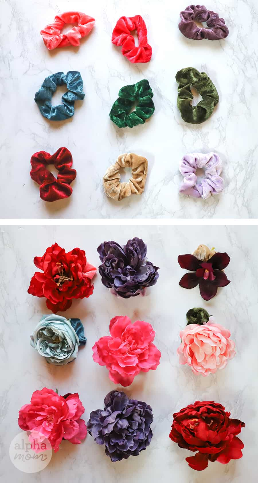 two pictures with top picture showing nine jewel-toned velvet scrunchies and bottom photo showing faux-flowers to add to them