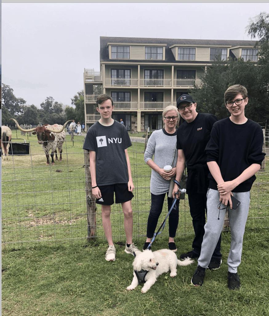 family visit to petting farm at Regency Hyatt Lost Pines Resort