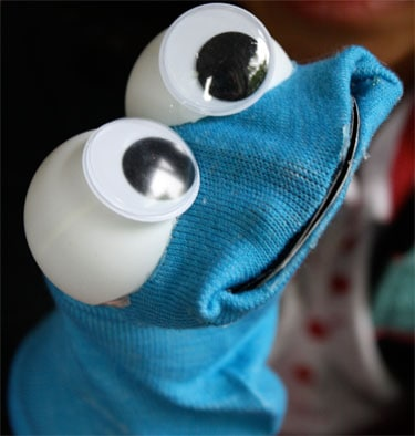 finished DIY sock puppet for Cookie Monster