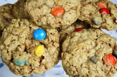 colorful m&ms baked into cookies