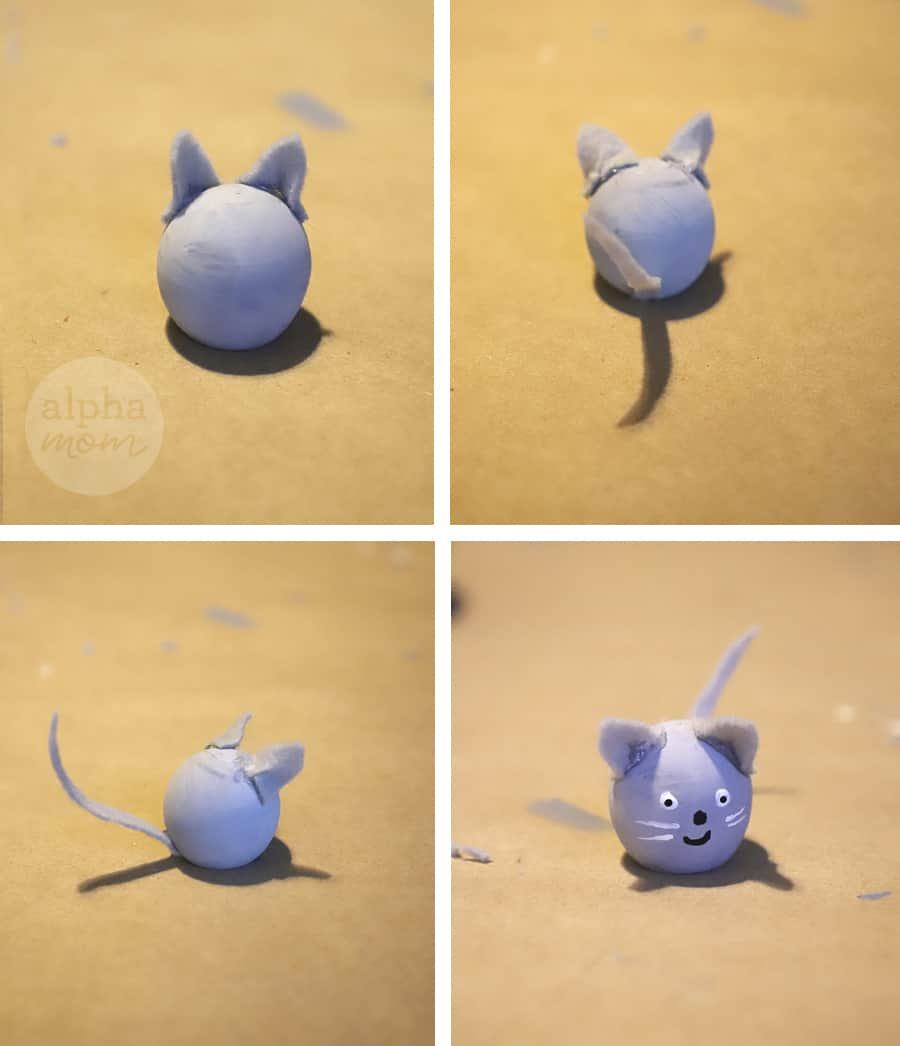 four pictures of a mini wooden crafted mice in front of a yellow background