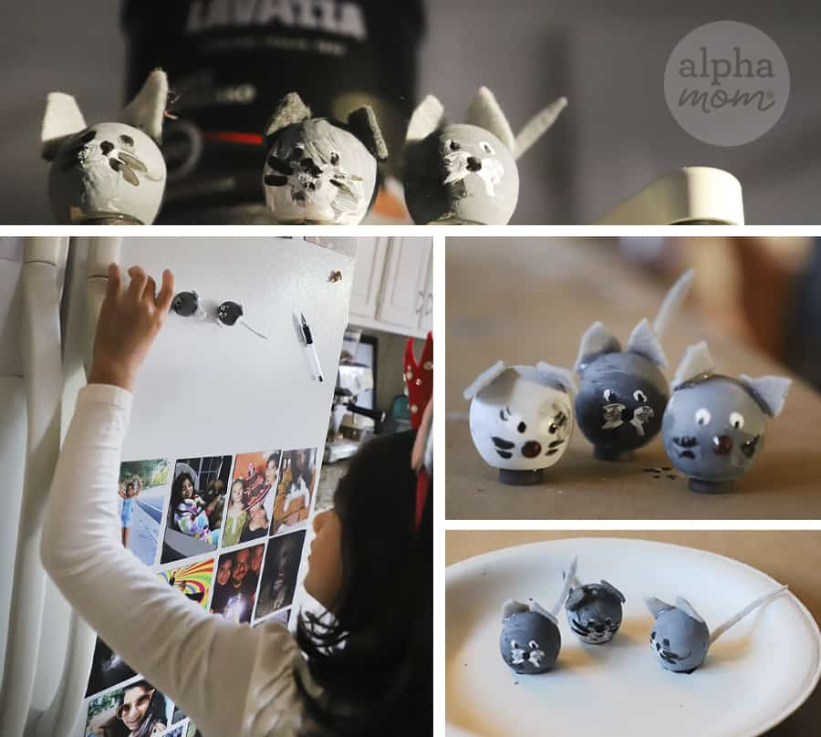 five pictures of three little wooden crafted mice and one picture of the mice on a fridge