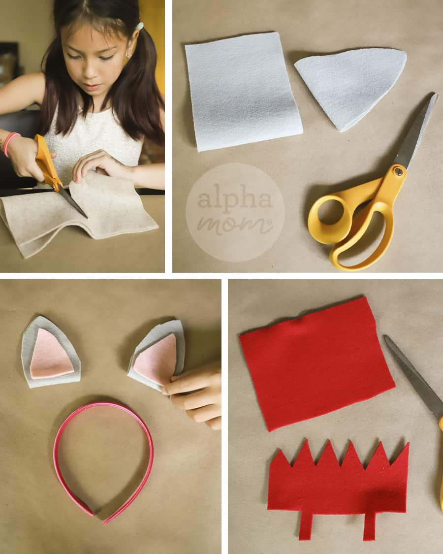 four pictures showing a girl making mouse ears and red crown on a headband craft