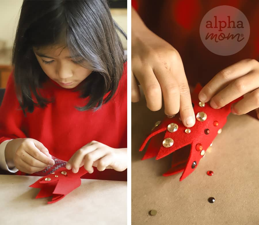 two pictures showing a girl adding stickon crystals to a small red felt crown to be added to a headband