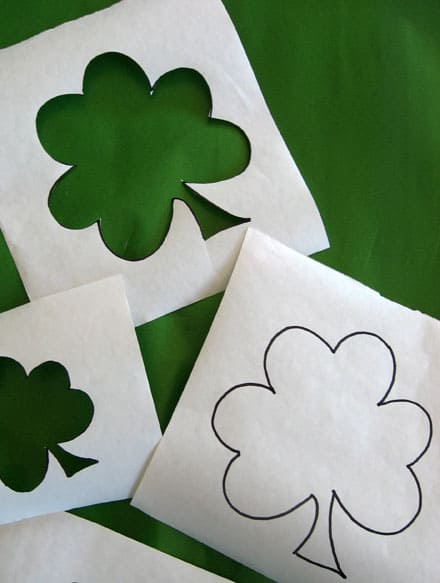 cut-out shamrock iron and stencil