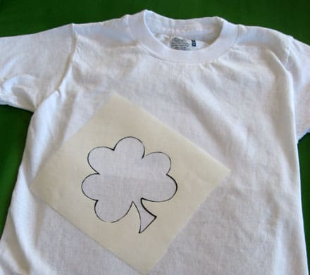 shamrock stencil on white t-shirt