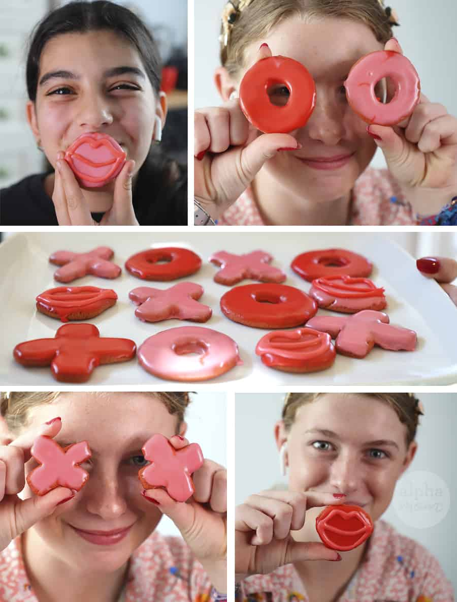 five photo montage of teen girls holding red and pink valentine's day cookies