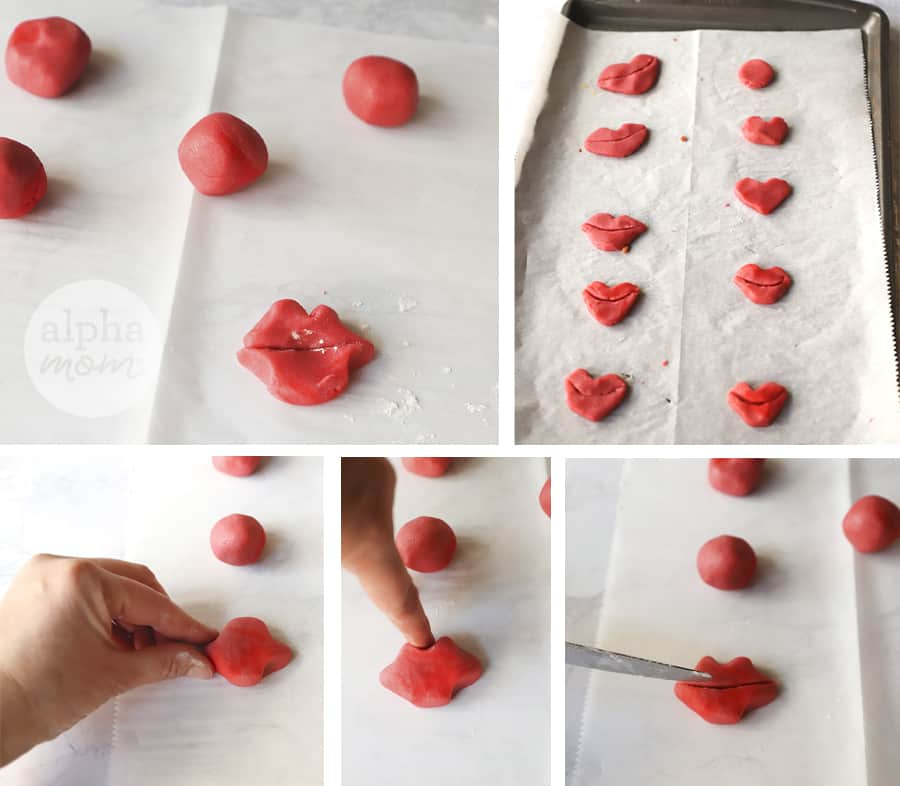 five overhead photos showing red cookie dough being shaped into lip-shaped cookies