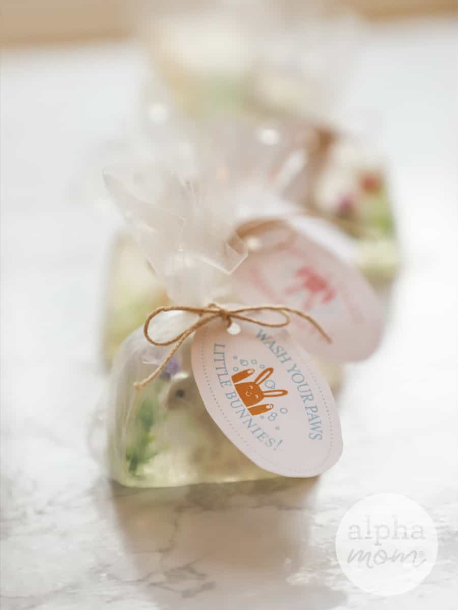 photo tiny homemade bunny soap wrapped up in cellophane
