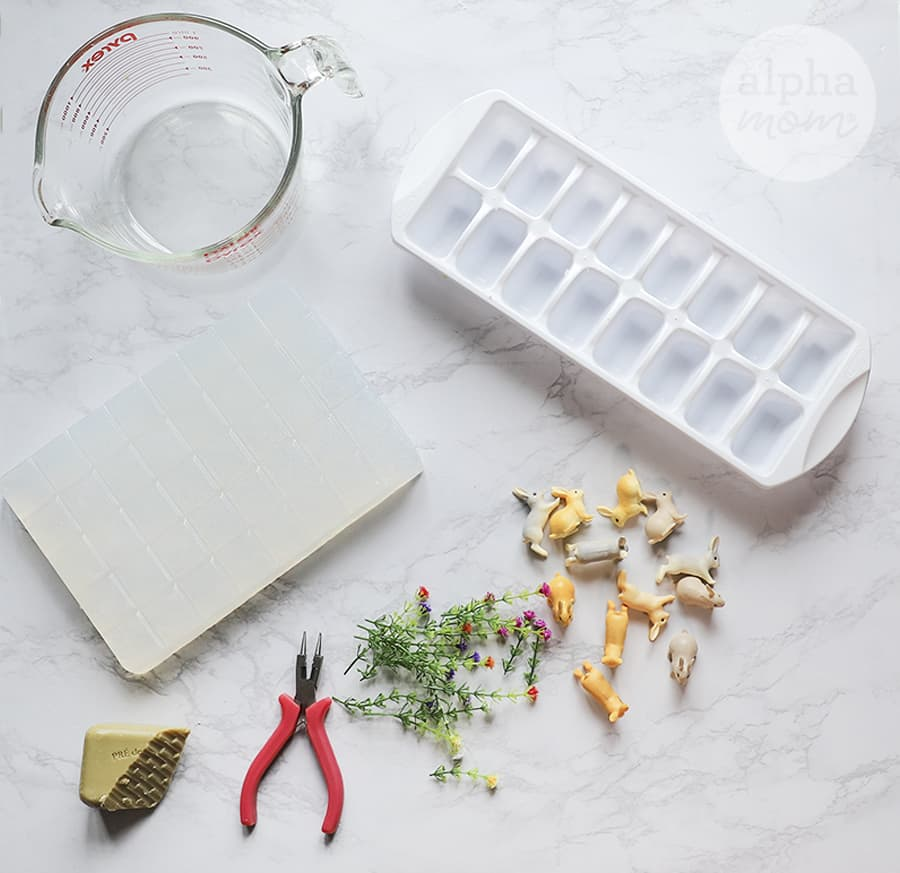 ice cube tray and mini plastic bunny toys for DIY Bunny Soap
