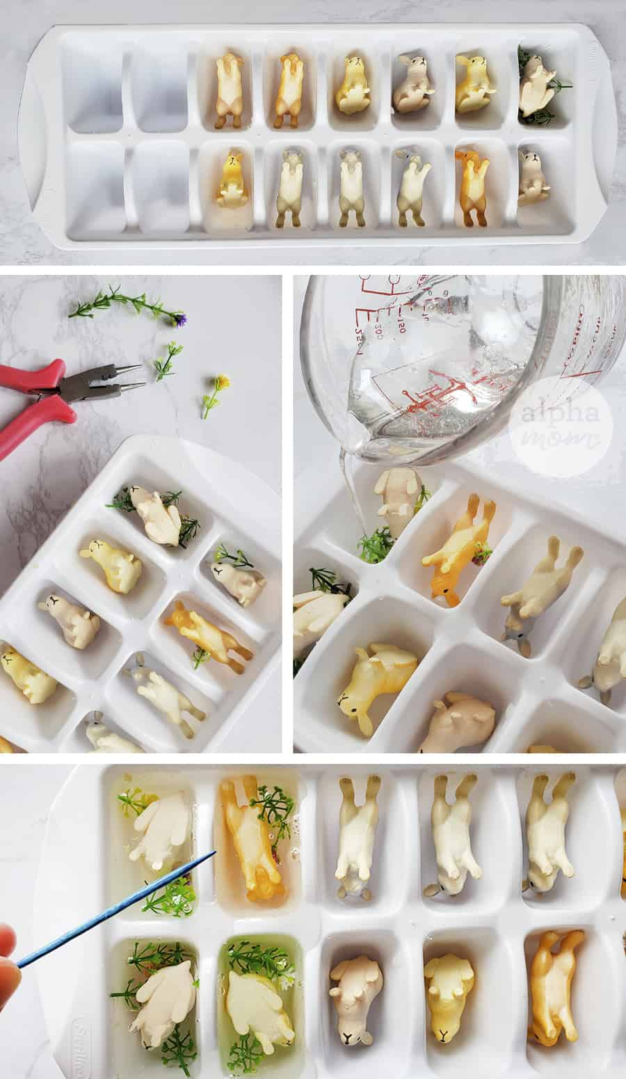 four photos showing how to make bunny soap in ice cube tray