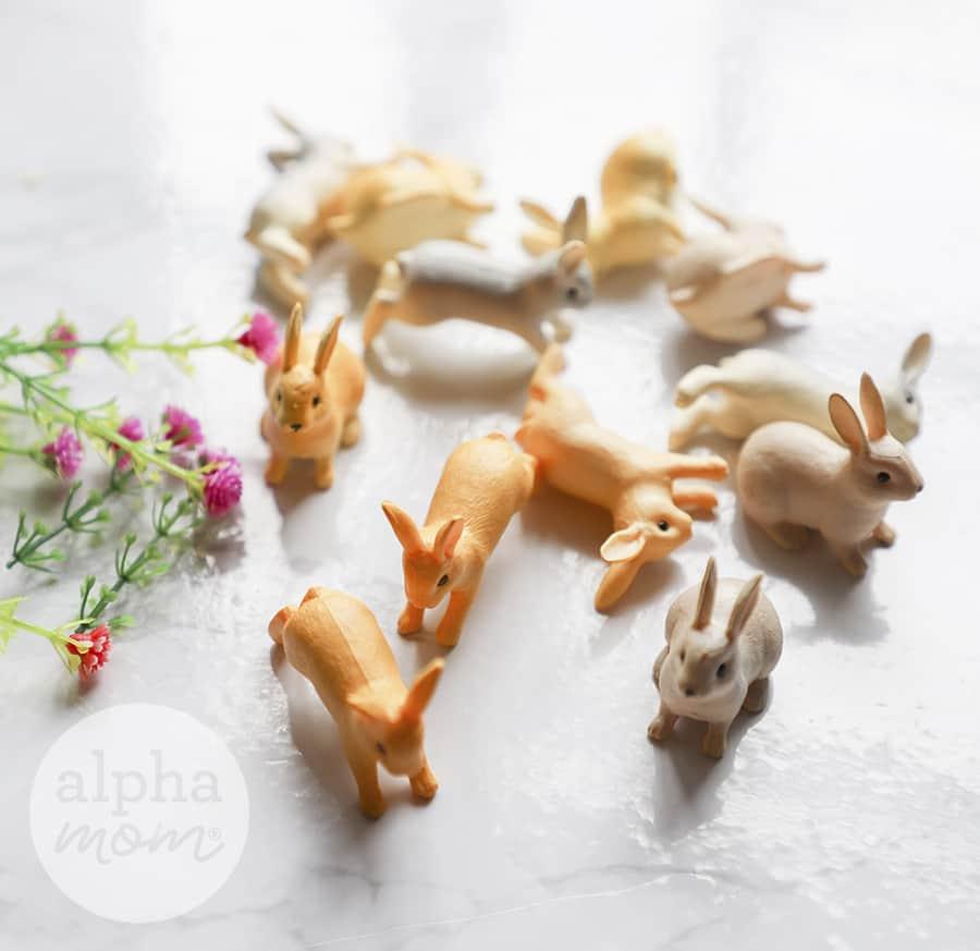 close-up photo of mini plastic bunny toys