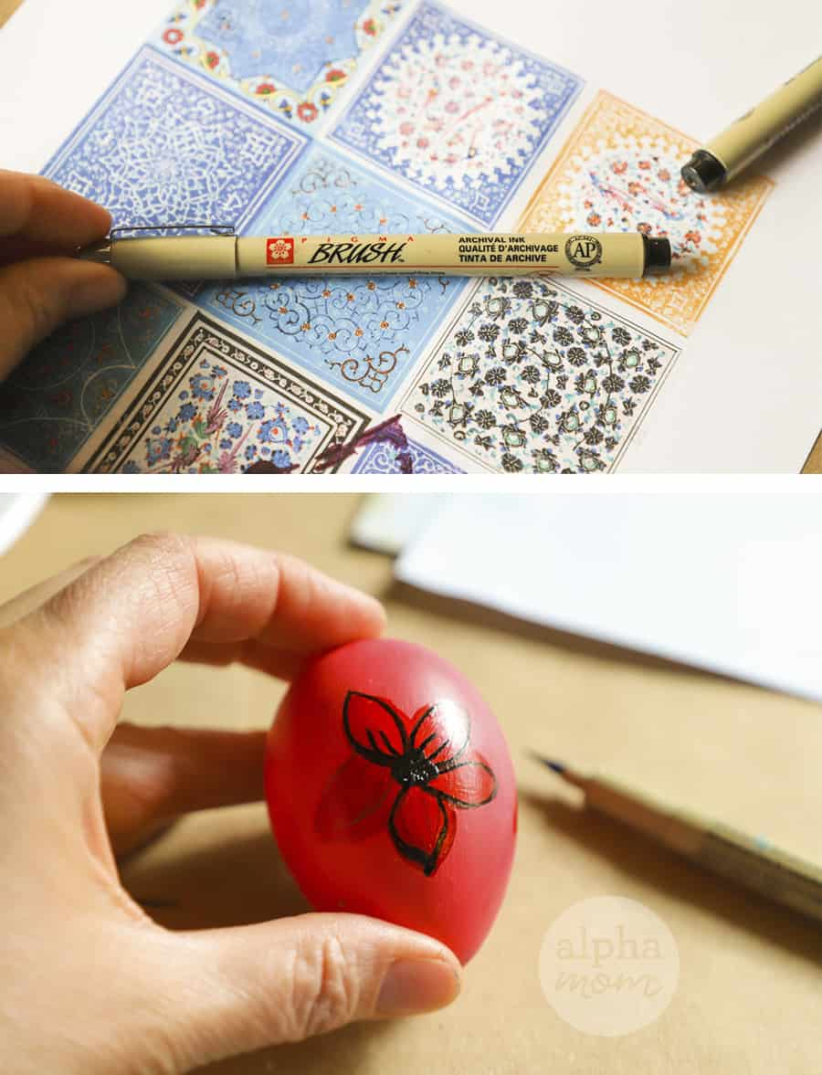 two photos of drawing flower onto red painted egg and picture of pattern of flowers