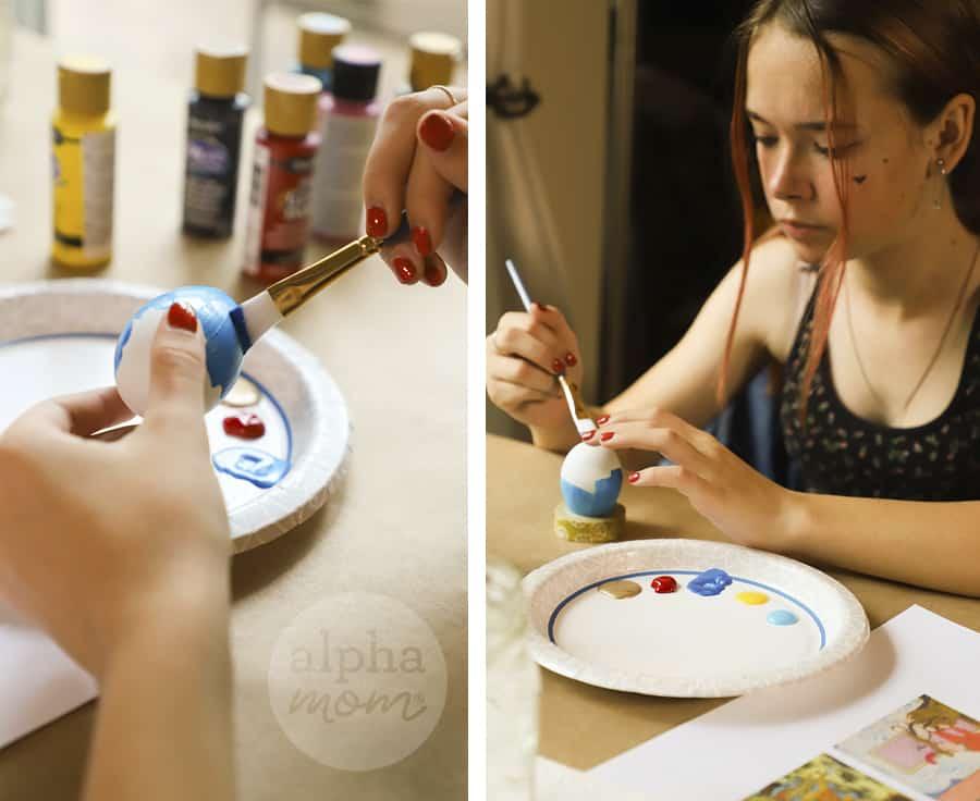 diptych of girl applying blue paint onto egg