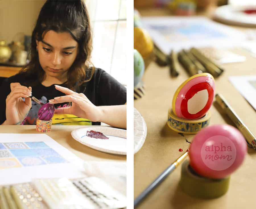 diptych of girl hand painting egg