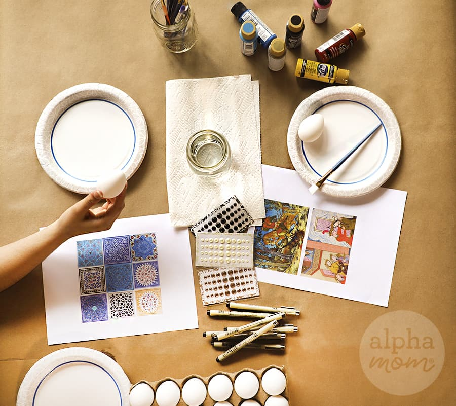 painting supplies for Nowruz hand painted eggs