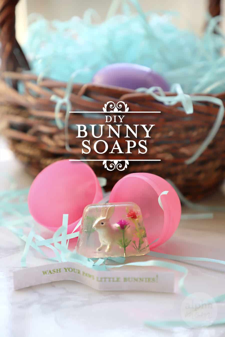 photo of DIY Bunny Soap in plastic Easter egg in front of a basket