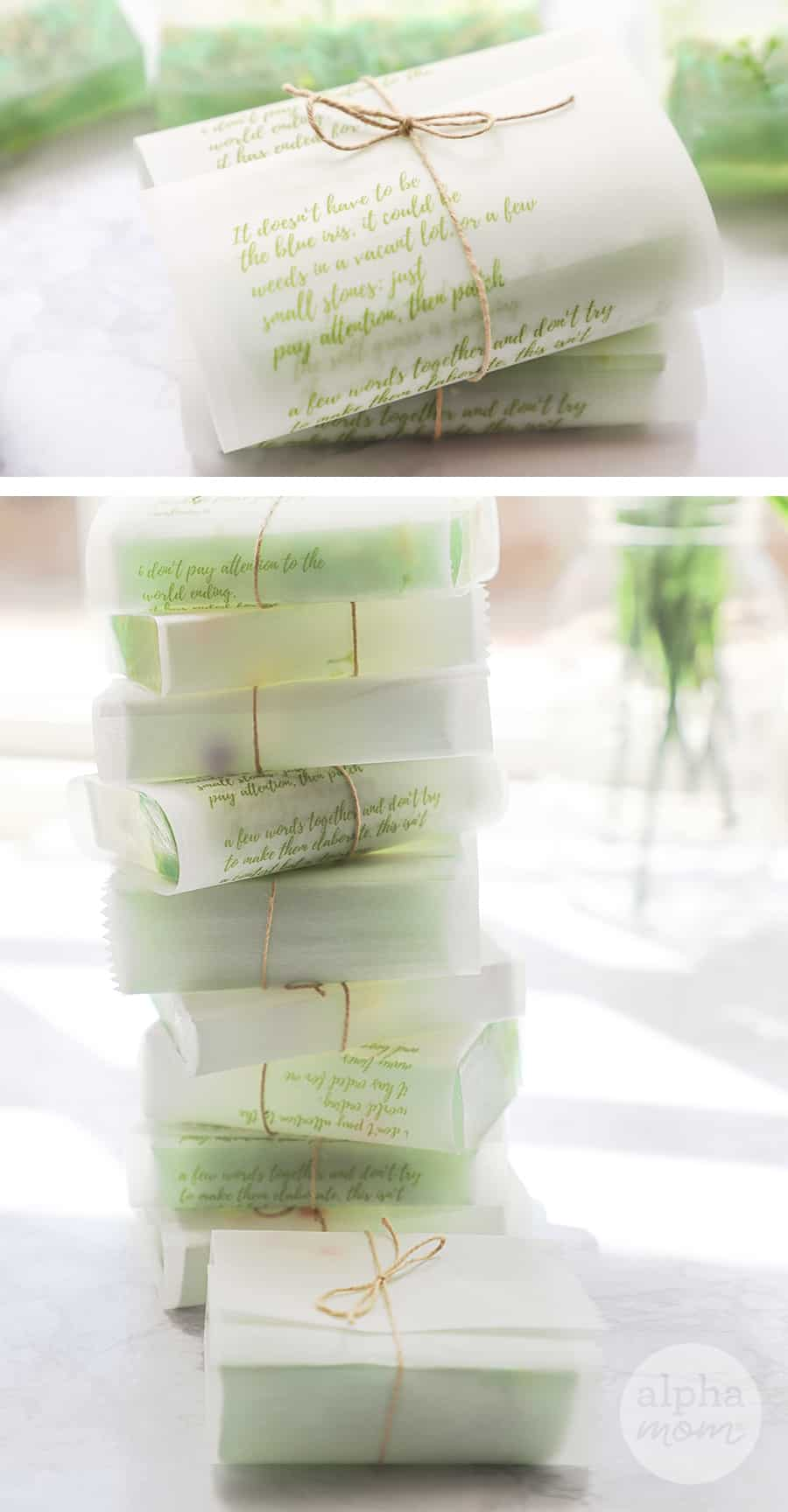 two close-up photos showing bars of homemade soap individually wrapped in parchment paper printed with poems and wrapped in twine