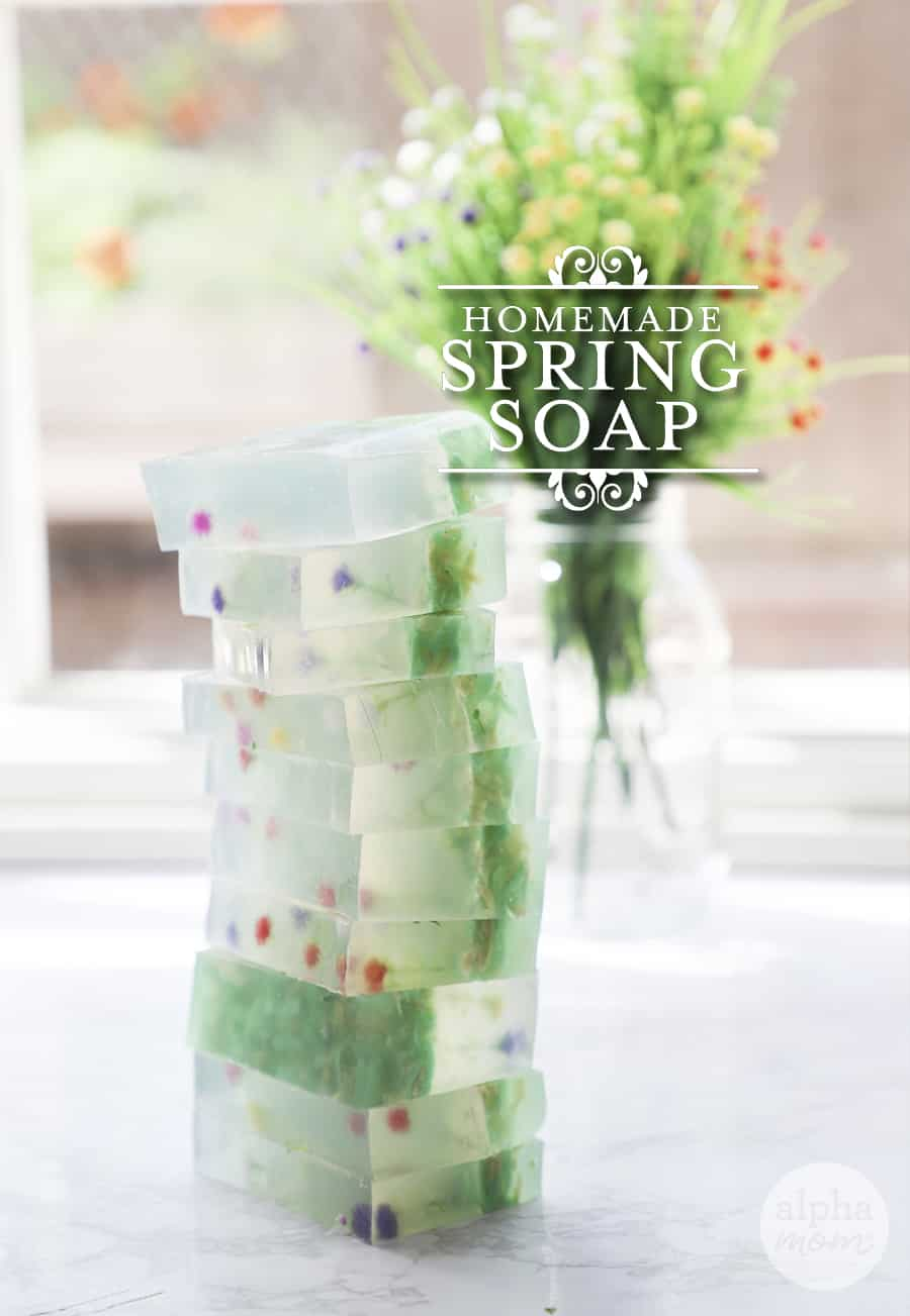 Soap bars stacked up with words saying Homemade Spring Soap on photo