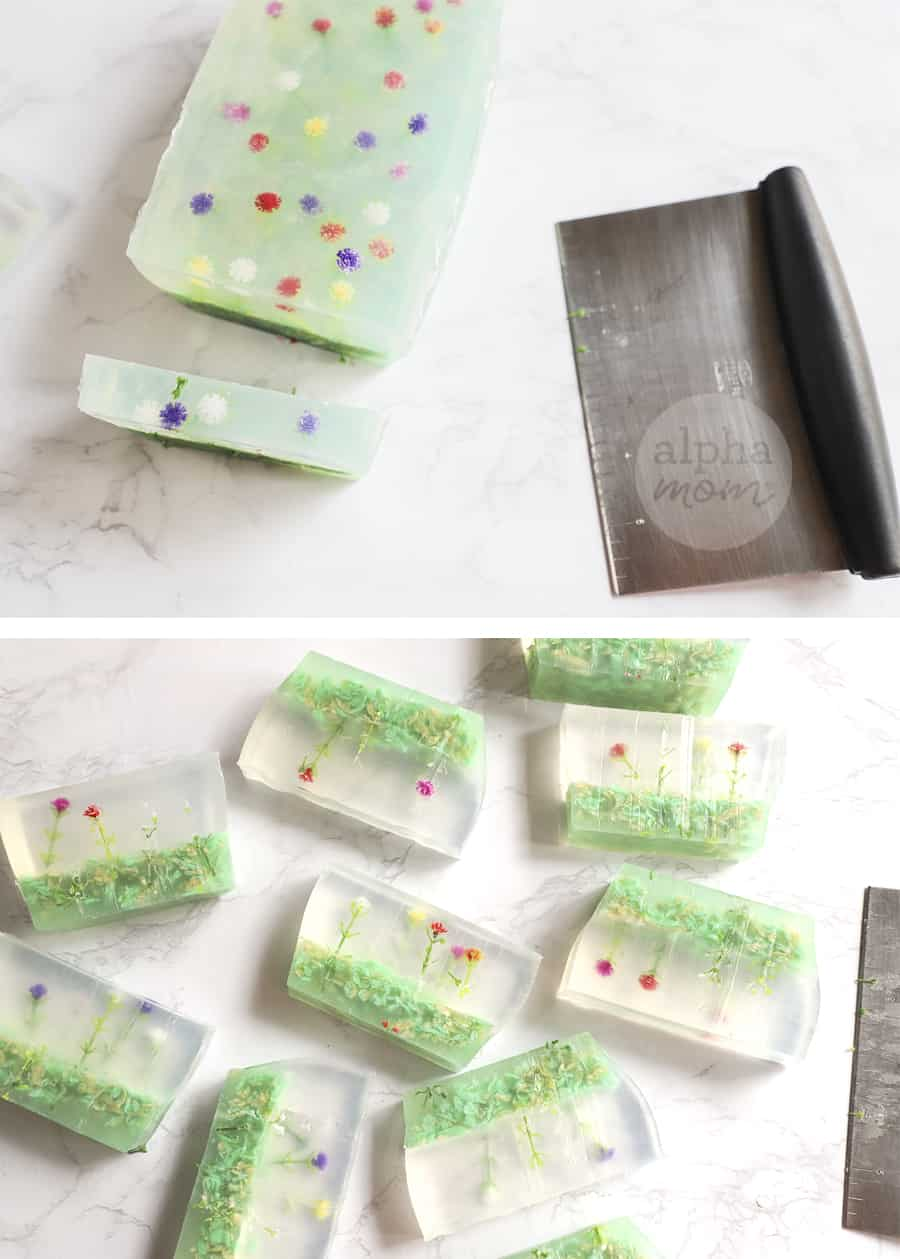 two photos of cut up homemade soap with tiny artificial flowers inside and the dough scraper used to cut the pieces