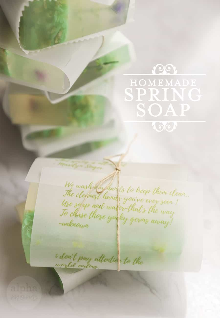 close-up of handmade bars of Soap wrapped in parchment paper and twine and the photo with the words Homemade Spring Soap
