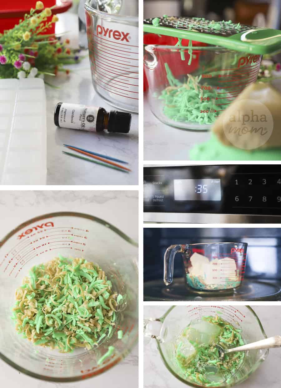 six close-up photos showing the process of making homemade soap including grating green soap and melting glycerin in a pyrex in a microwave and stirring