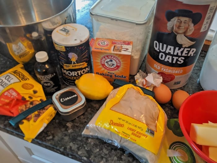 close-up of ingredients to make chocolate chip cookies from scratch