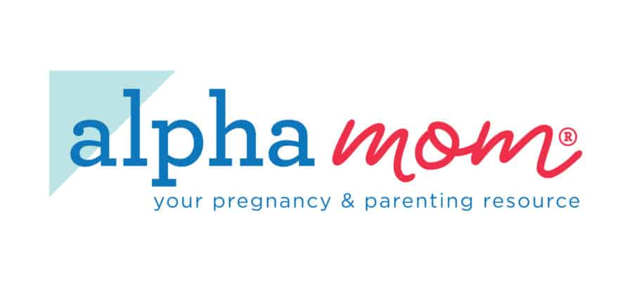 Alpha Mom logo in blue and raspberry