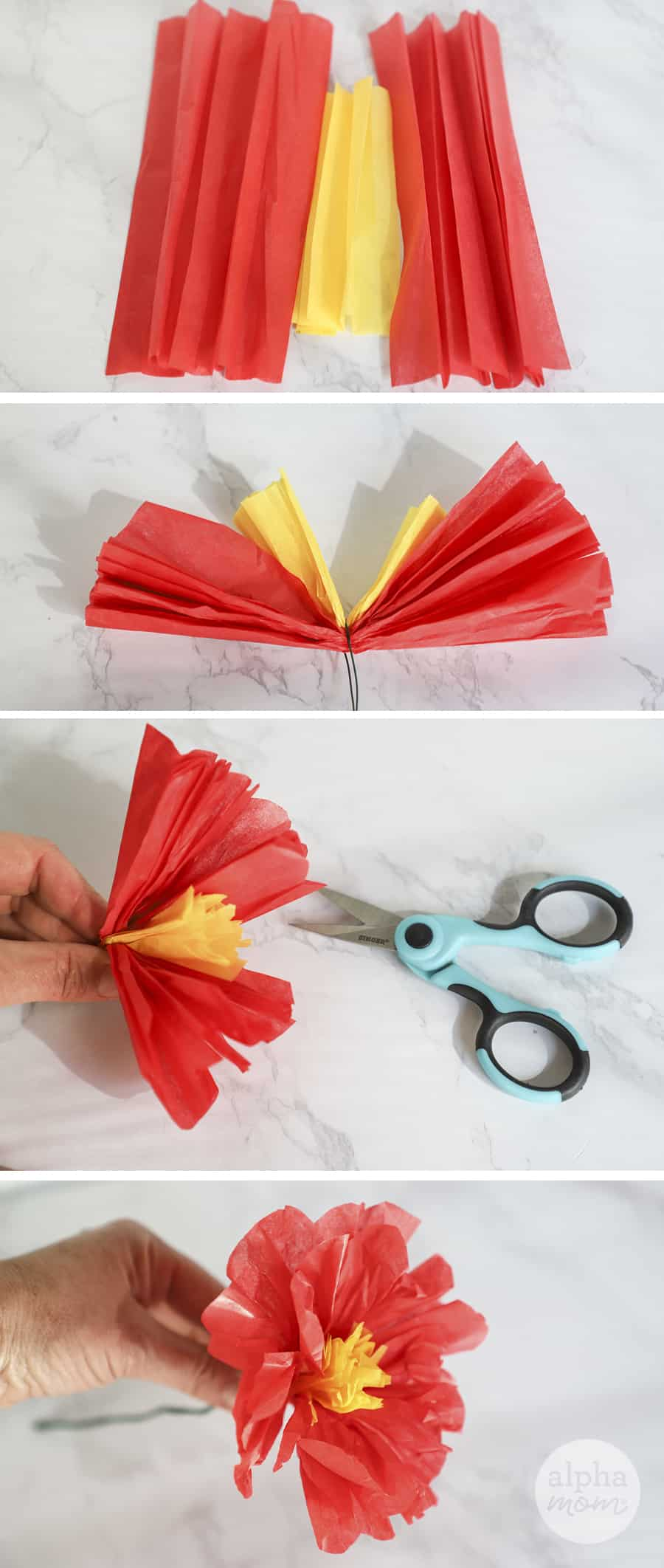 four photos showing how to make a red paper flower with yellow center