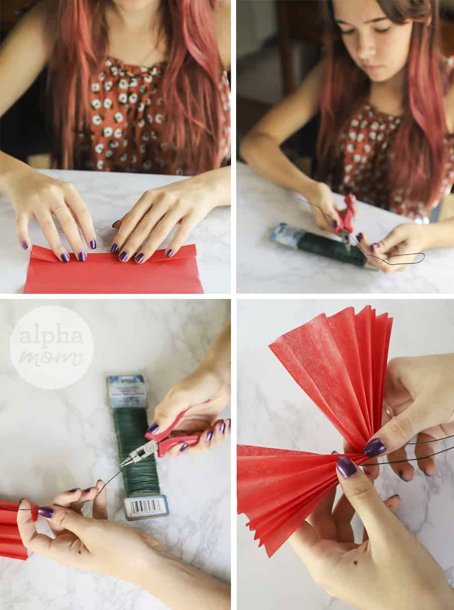 four photos showing a teen girl making a tissue paper flower with floral wire