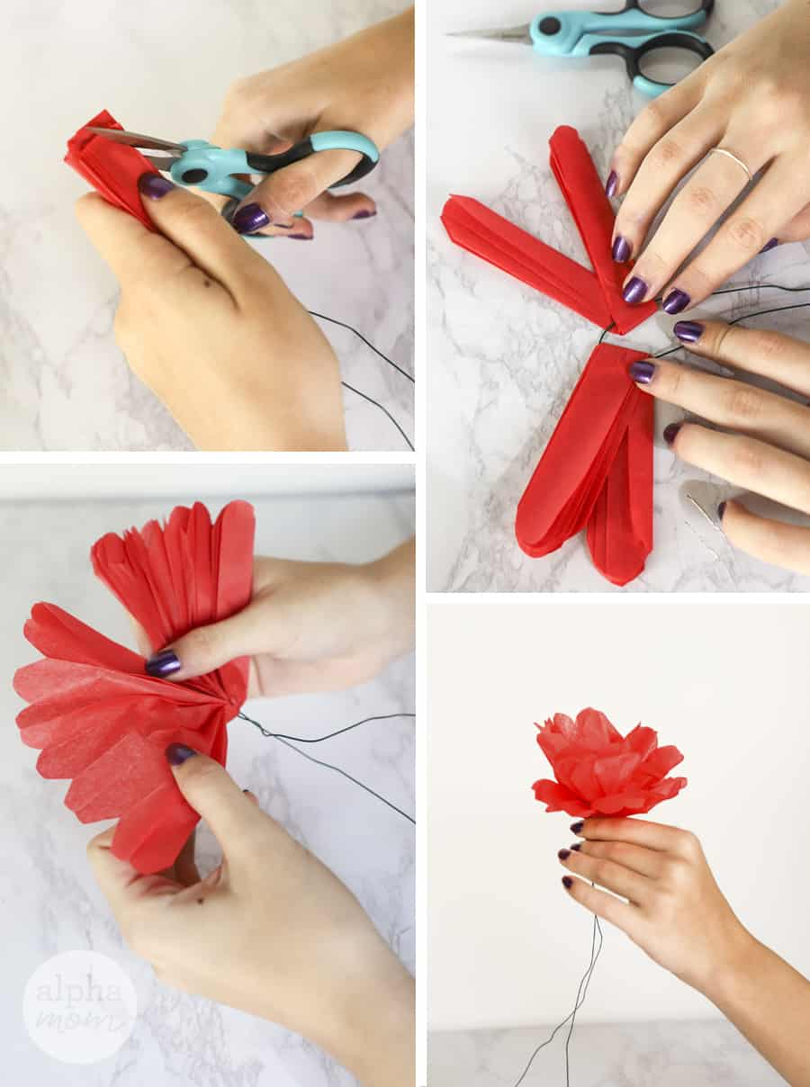 four photos of close-up of hands fanning out tissue to make paper flower