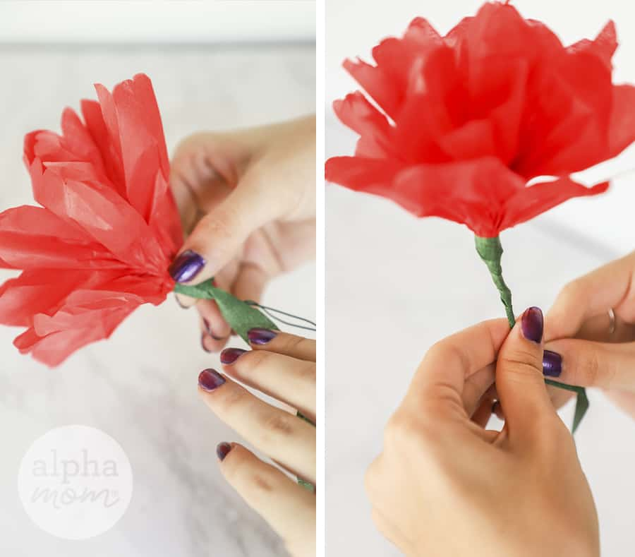 two photos of a close-up of hands applying floral tape to a red paper flower