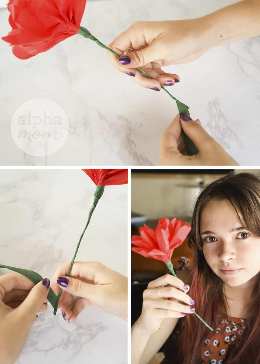 three photos of close-up of red tissue paper flower creation