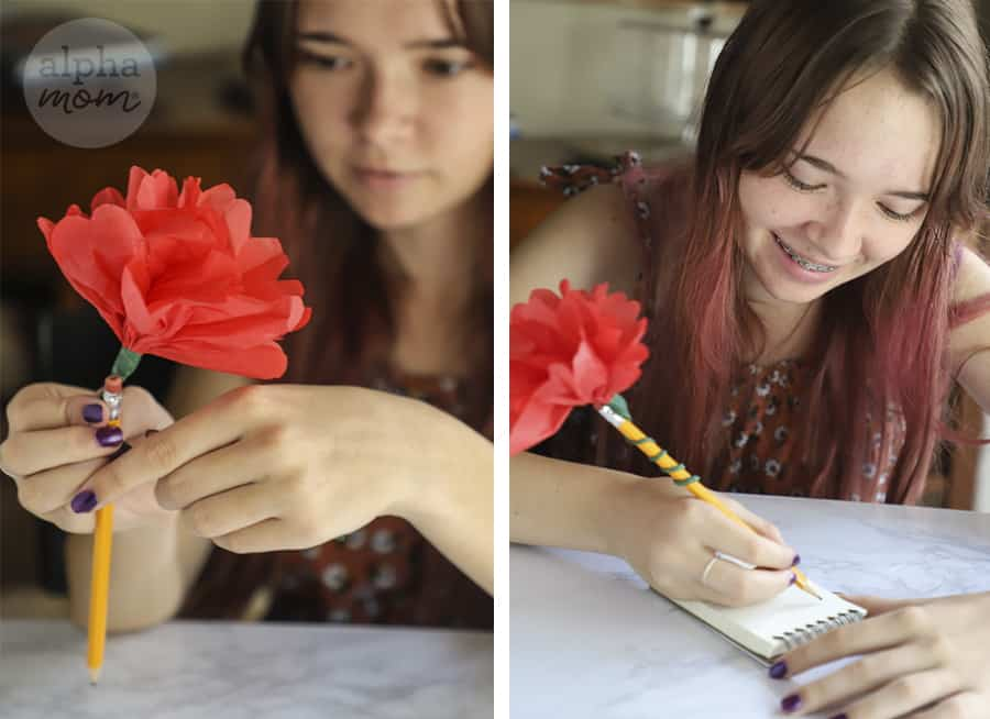 two photos of teen girl attaching red tissue paper flower topper to pencil