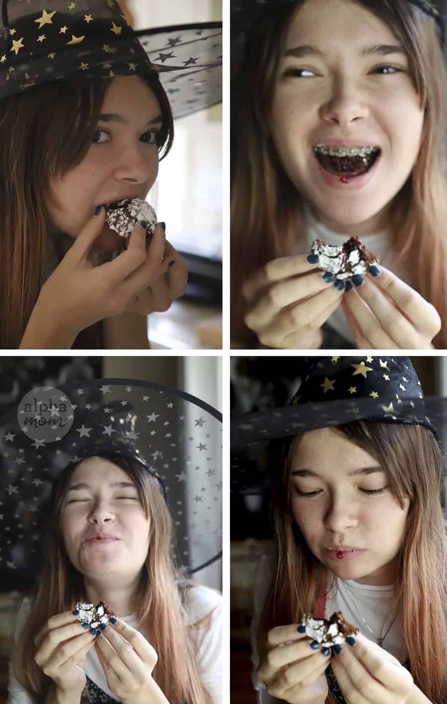 four photos showing teen girl wearing witch's hat and biting into Blackberry Chocolate Crackle Cookie