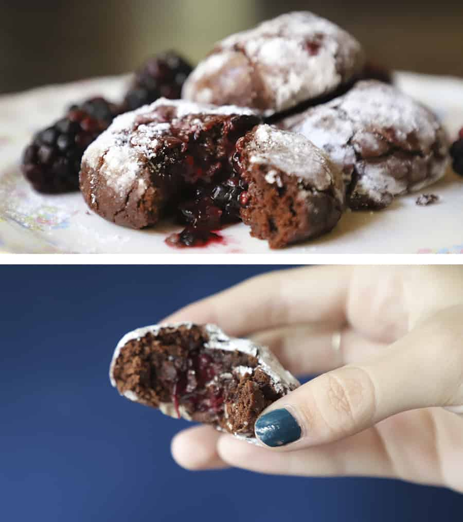 two close-up photos of bitten into Blackberry Chocolate Crackle Cookies