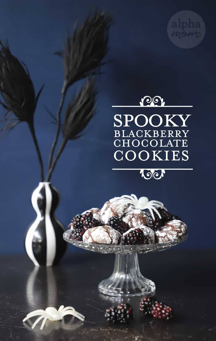Picture of Spooky Blackberry Chocolate Crackle Cookie Recipe for Halloween