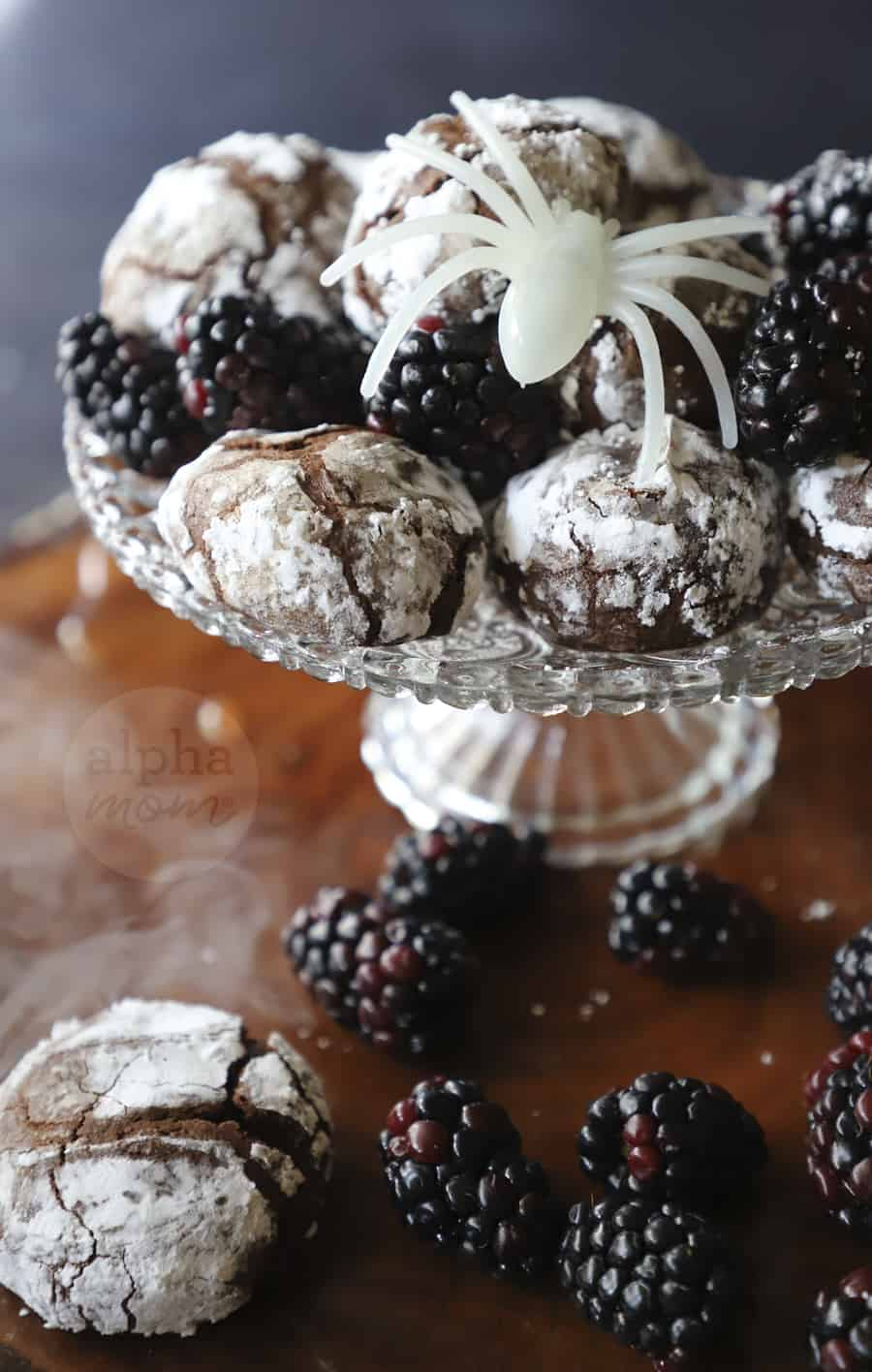 photo of crystal platter filled with Blackberry Chocolate Crackle Cookies and blackberries