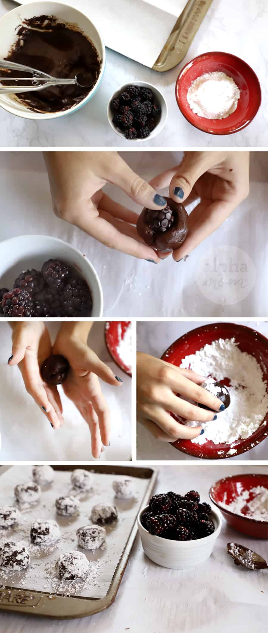 five photos showing process to make Blackberry Chocolate Crackle Cookies for Halloween