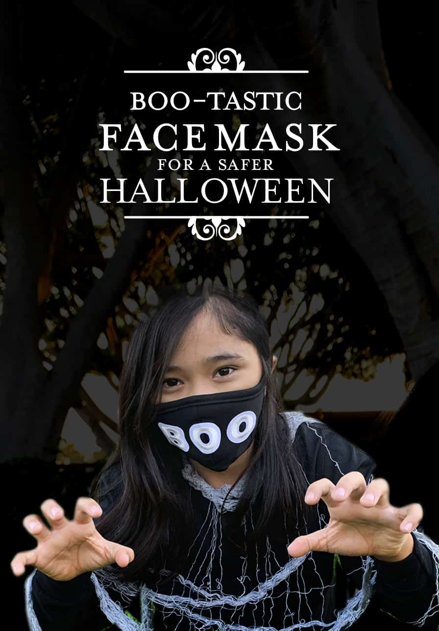 photo a girl wearing Boo Face Mask for Halloween
