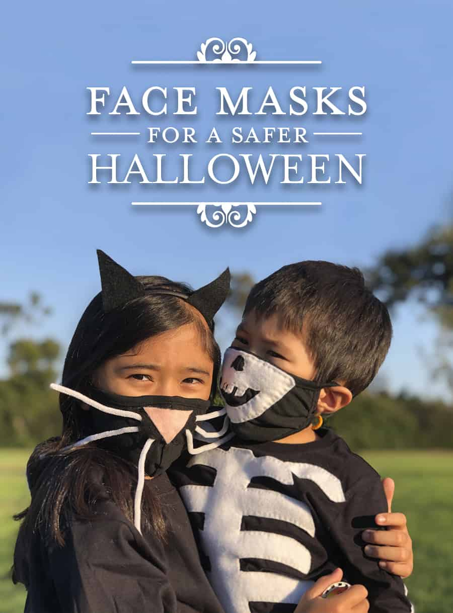 photo of brother and sister wearing costume face masks of cat and skeleton for Halloween during Coronavirus pandemic