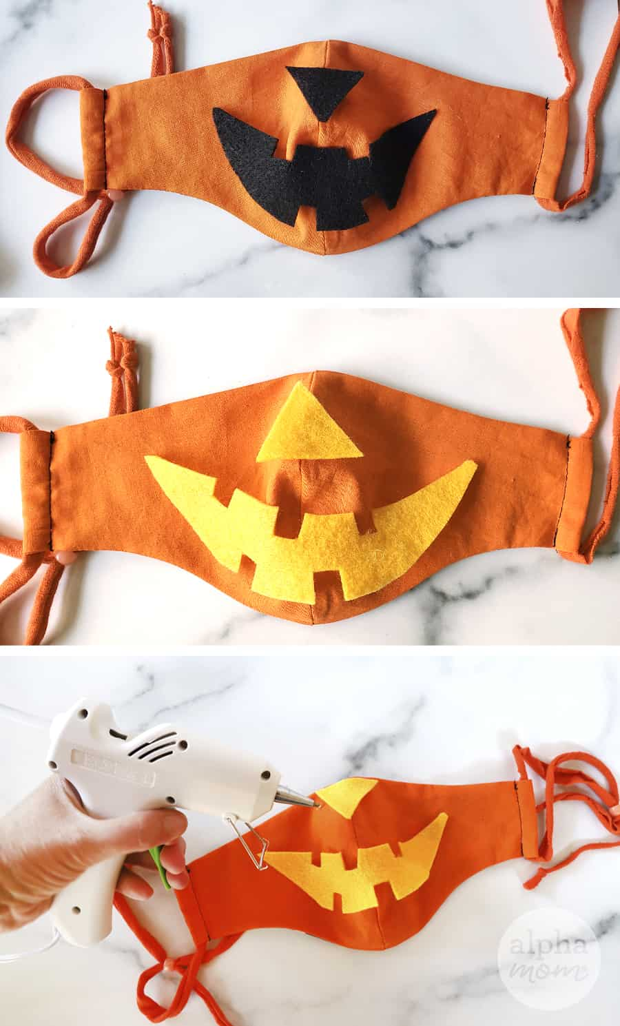three overhead photos of orange face masks with felt to make jack o lantern costume for Halloween