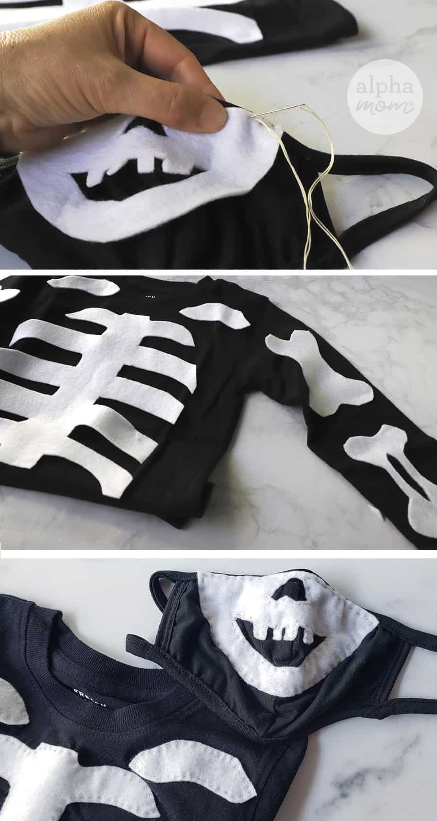 three photos showing close-up of felt being sewn onto homemade Halloween skeleton costume and face mask for COVID