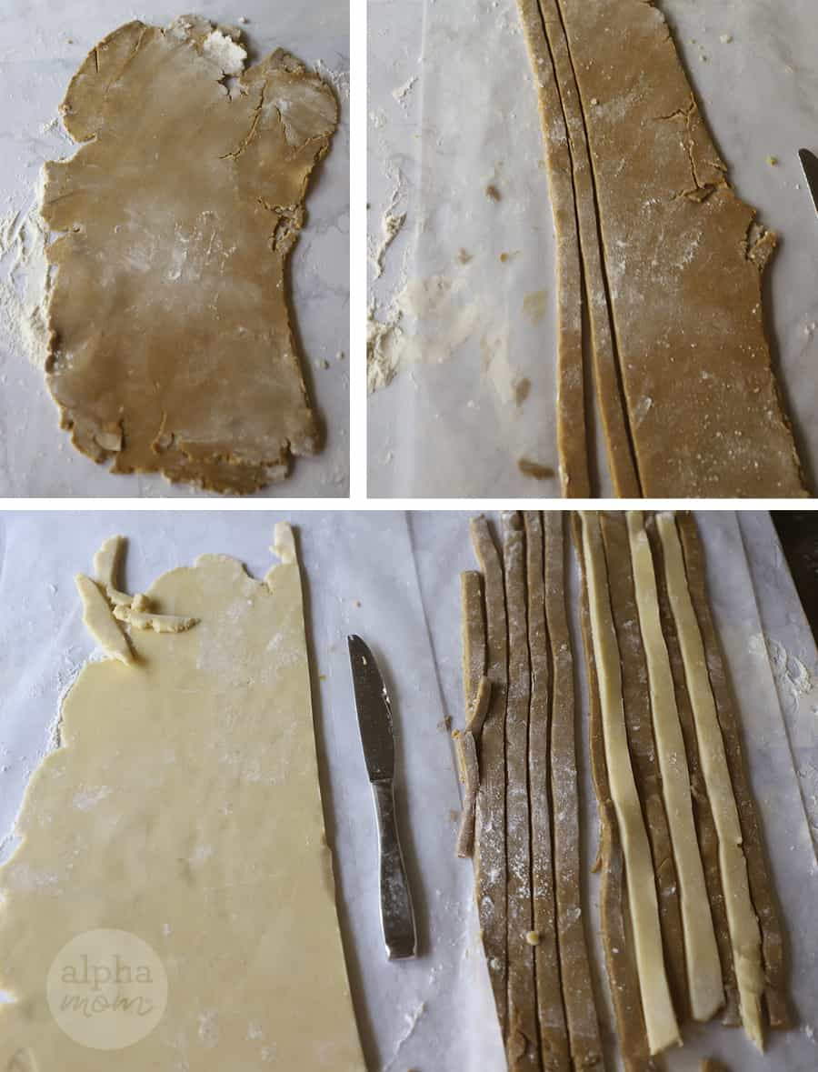 three close-up photos of rolled-out cookie dough cut out into strips and aligned into stripes