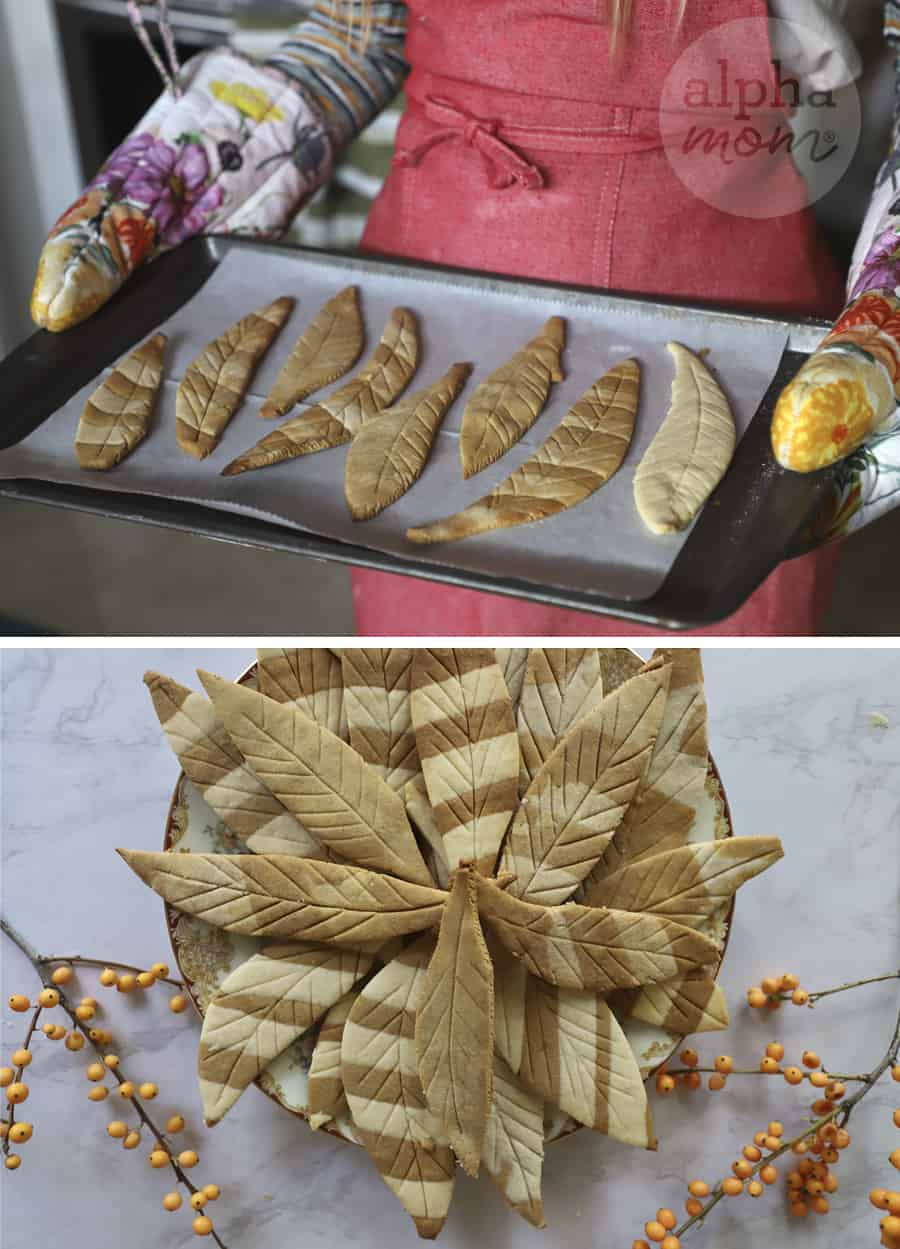 two photos of feather-shaped striped cookies coming out of the oven and on a plate