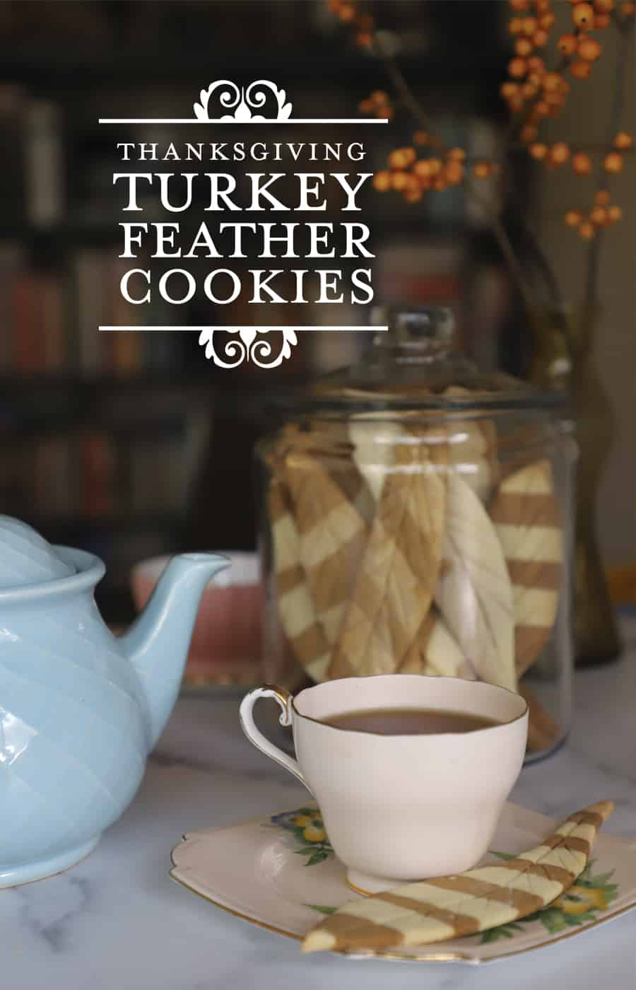 Turkey Feather-shaped cookies for tea time in an Anchor Hocking Jar
