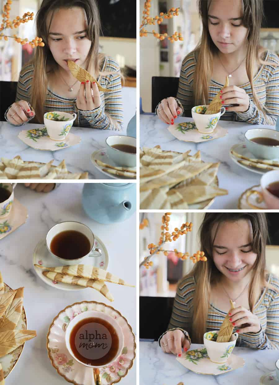 four photos of teen girl dipping feather-shaped cookie in tea and on a plate