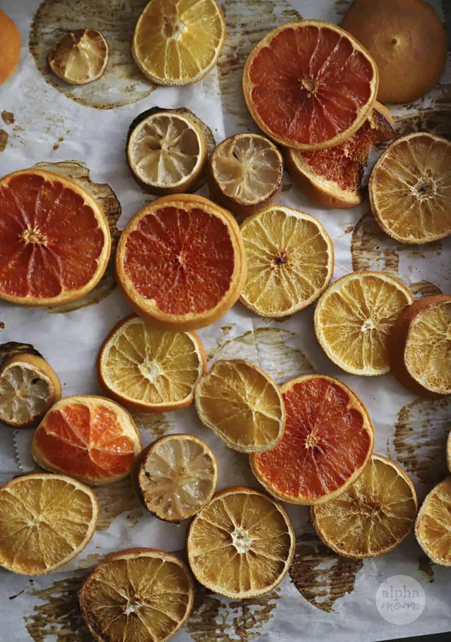 close-up photo of baked citrus on baking sheet