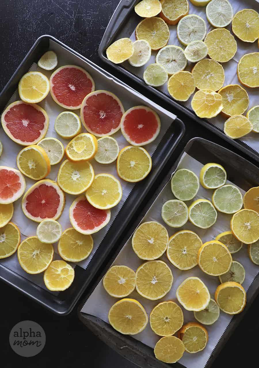 overhead photo of sliced lemons, oranges and pink grapefruit on baking sheets
