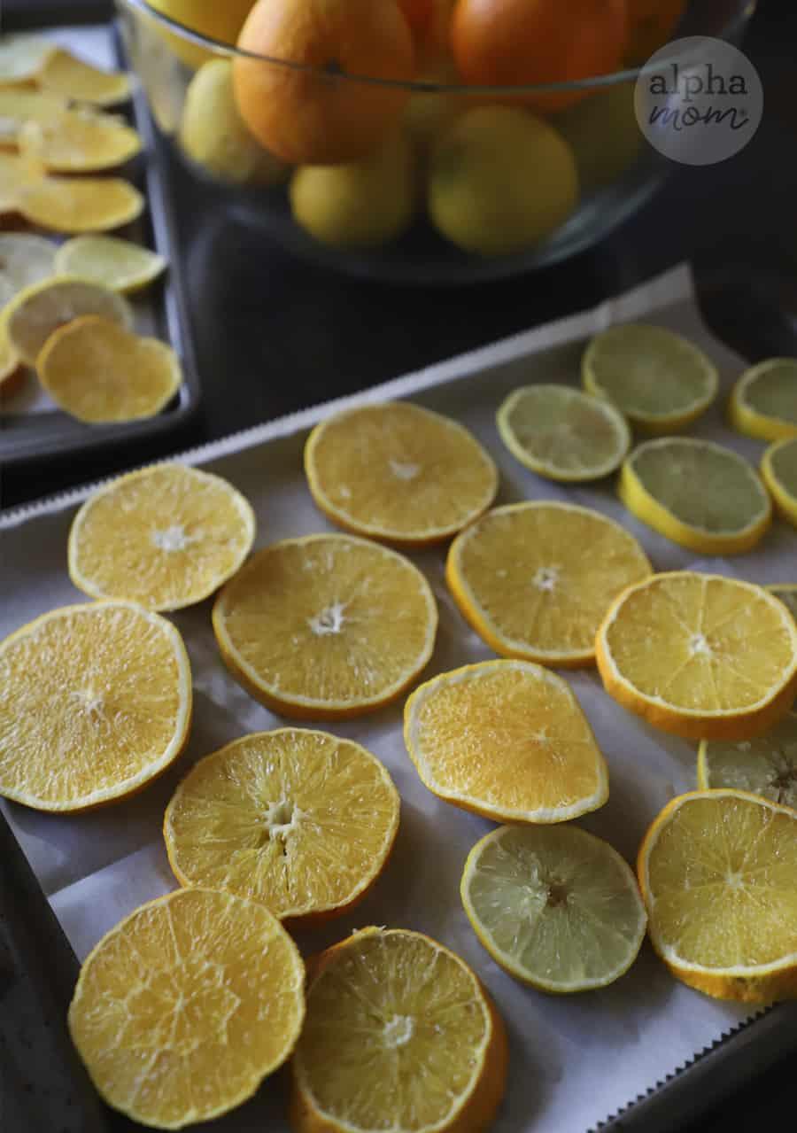 photo of sliced oranges on baking sheet